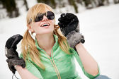 Young snowboarder reaches his arms on the snow — Stock Photo