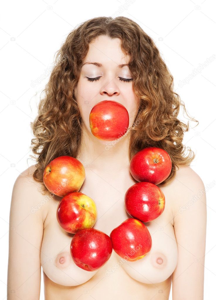 Bright picture of lovely girl with red apples isolated — Stock Photo #8932442