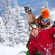 Happy snowboarding team in winter mountains — Stock Photo #8944064