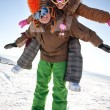 Happy snowboarding team in winter mountains — Stock Photo #8944111
