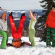Stock Photo: Fun picture with Snowboarder team