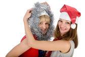 Två glada unga flickvänner över vita — Stockfoto