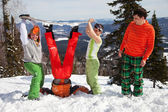 Fun picture with Snowboarder team — Stock Photo