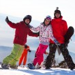Happy snowboarding team — Stock Photo