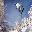 Skier jumping - Stock Photo