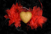 Golden heart over black feathers background — Stock Photo