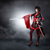 Full length shot of warrior girl wearing fetish kimono — Stock Photo