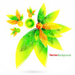 Floral abstract vector background with green and orange leaves — Stock Vector