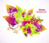 背景に色とりどりの花で花の抽象的なベクトル イラスト — ストックベクタ
