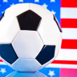 Foto de Stock  : Americsoccer and flag