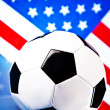 Royalty-Free Stock Photo: American soccer and flag