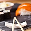 Sushi on the plate with chopstick — 图库照片