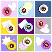 Coffee cups with humorous and sweet icons — Stock Vector