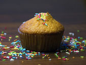 Celebration muffin with icing — Stock Photo