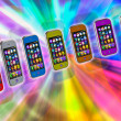 Several touchscreen smartphone on a colorful background. Cell Sm — Stock Photo