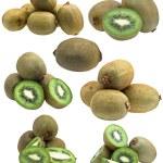 Collection of fresh kiwi fruits isolated on white background — Stock Photo