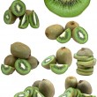 Collection of fresh kiwi fruits isolated on white background — Stock Photo