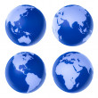 Four blue globe on white background — Stock Photo