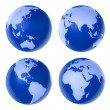 Four blue globe on white background — Stock Photo #8483068
