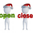 3d small man standing near to an close, open icon. 3d image. Isolated white — Stock Photo