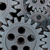 Gears on black background — Stock Photo