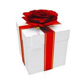 Gift box on the white background — Stock Photo