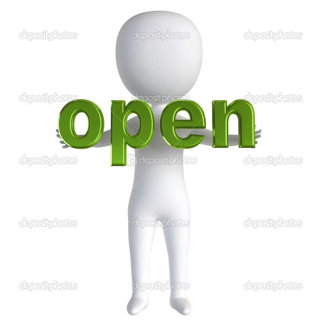 3d small person standing near to an open icon. 3d image. Isolated white background. — Stock Photo #8483195