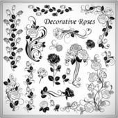 Set of decorative roses — Stock Vector