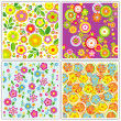 Set of flower wallpapers — Stock Vector