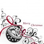 jul bakgrund med boll — Stockvektor