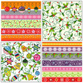 Set of Christmas wrapping papers — Stock Vector