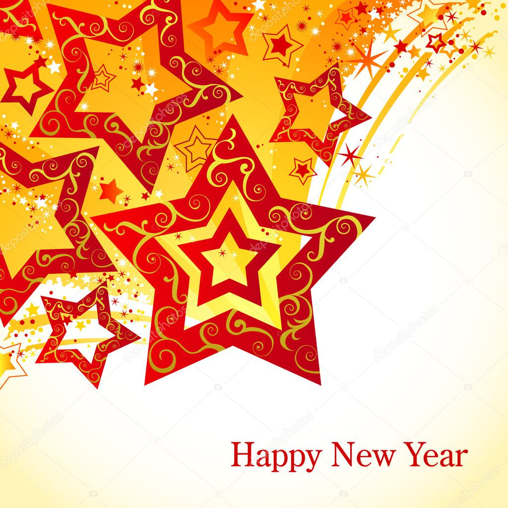 New-Years background with stars  Stock Vector #8176428