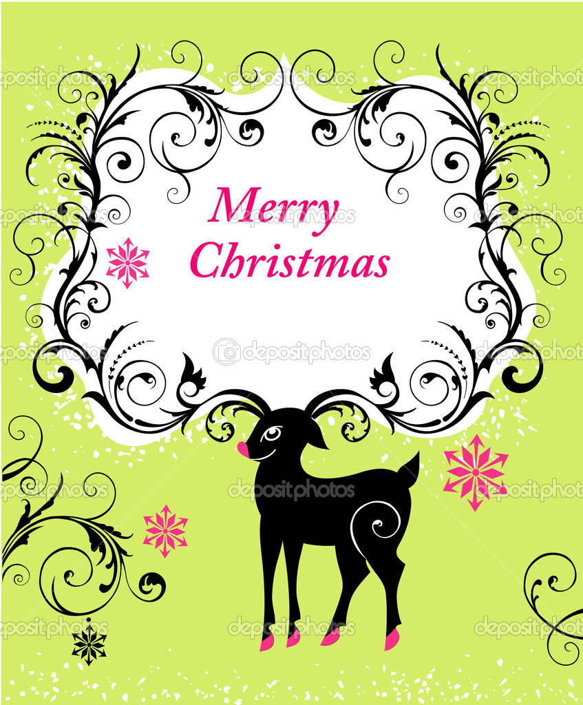 Christmas background with reindeer — Stock Vector #8185807