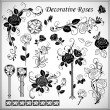 Set of decorative roses — Imagen vectorial