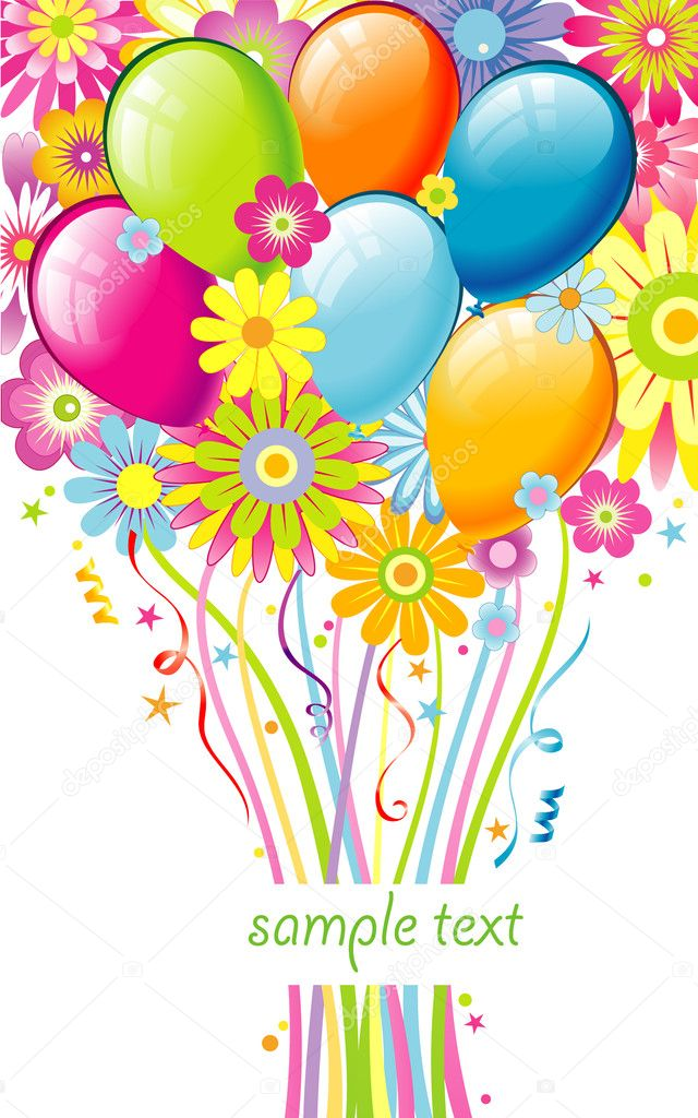 Greeting card with flowers and balloons  Stock Vector #8456506