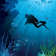 Beautiful coral reef and silhouettes of diver - Stock Vector
