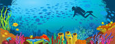 Cartoon colored coral reef and diver — Stockvektor