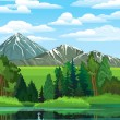 Landscape with forest, river and mountains — Stock Vector #10642855