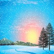 Sunset winter landscape — Stock Vector
