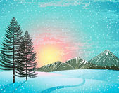 Sunset winter landscape — 图库矢量图片