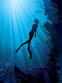 Silhouette of freediver in sea — Stock Vector