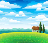 Landscape with flourishing meadow, house and mountains — Stock Vector