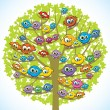 Royalty-Free Stock Vector Image: Funny birds and tree