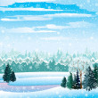 Stock Vector: Vector winter landscape