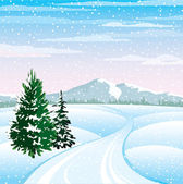 Winter landscape — Stock Vector