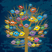 Funny birds and tree — Stock Vector