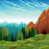 Green nature landscape — Stock Vector