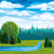 Stock Vector: Green vector landscape