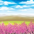 Stock Vector: Pink japanese trees and mountains