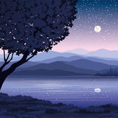 Vector night landscape — Stock Vector